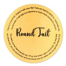 89mm Round Aluminium Coaster with 4 little cork feet, Round Tuit or Personalised